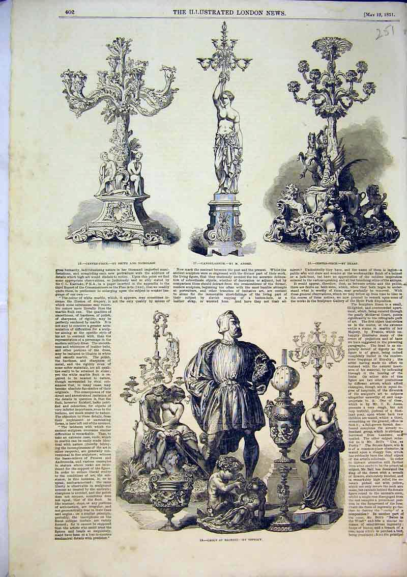 Print 1851 Trophy Candelabrum Centre Piece Group Bronzes 251B366 Old Original
