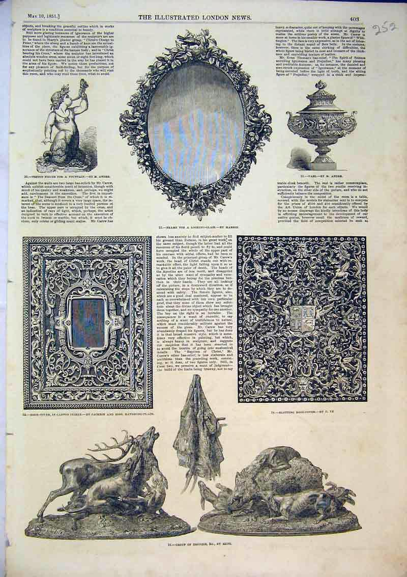 Print 1851 Group Bronzes Statue Book Cover Vase Mirror Frame 252B366 Old Original