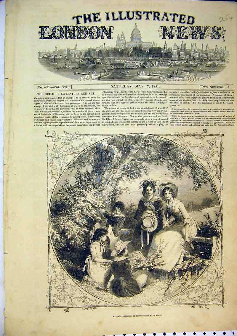 Print 1851 Country Scene Family Picnic Lunch Flowers Trees 254B366 Old Original