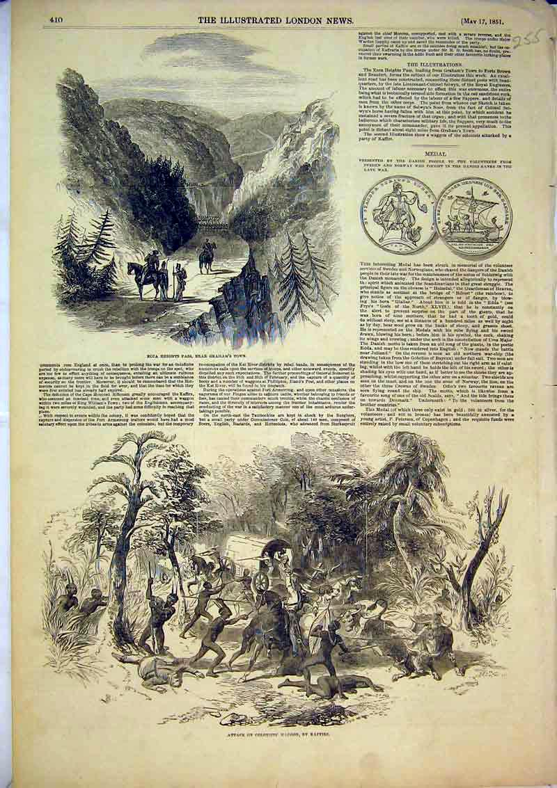Print 1851 Attack Colonists Waggon Kaffirs Ecca Pass Graham 255B366 Old Original