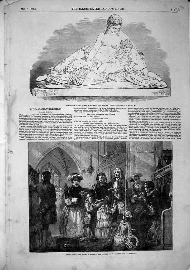 Print Exhibition Royal Academy Mother Statue Squires Pew 1851 256B366 Old Original
