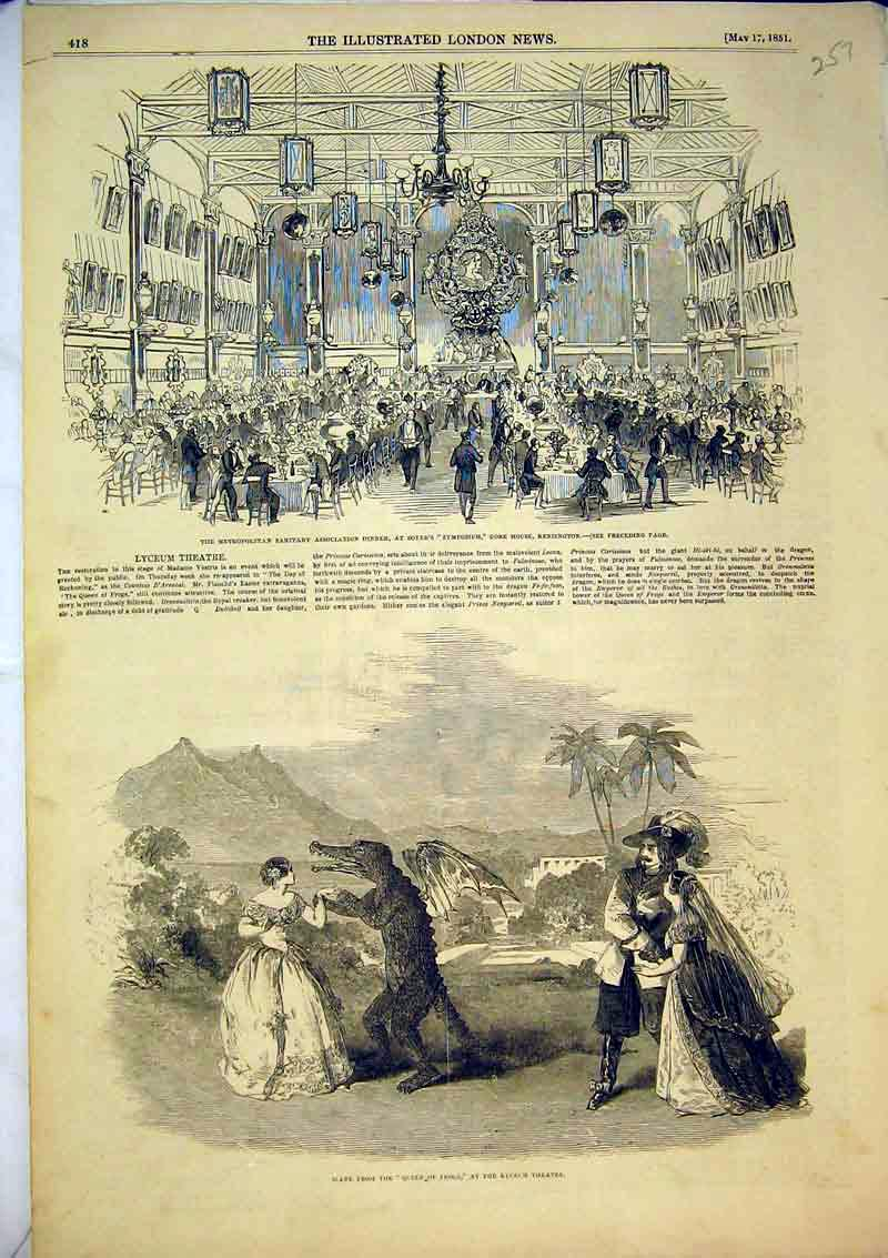 Print Scene Queen Frogs Lyceum Theatre 1851 Gore House Soyer 257B366 Old Original