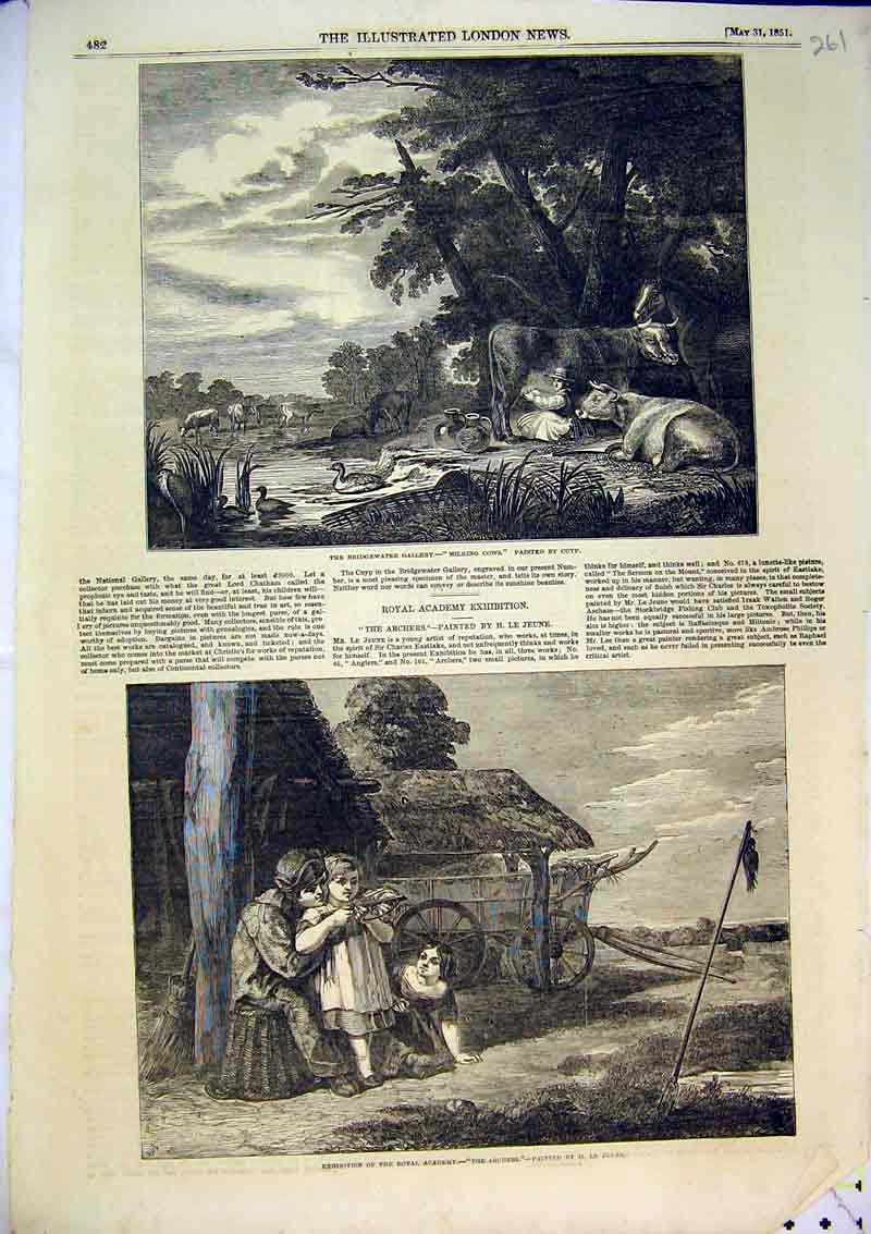 Print 1851 Bridgewater Gallery Milking Cows Archers Country 261B366 Old Original