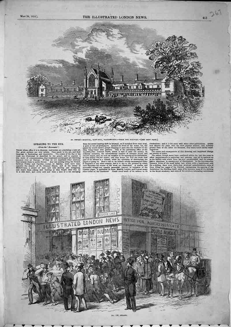 Print View Street Strand St Peters Hospital Wandsworth 1851 267B366 Old Original