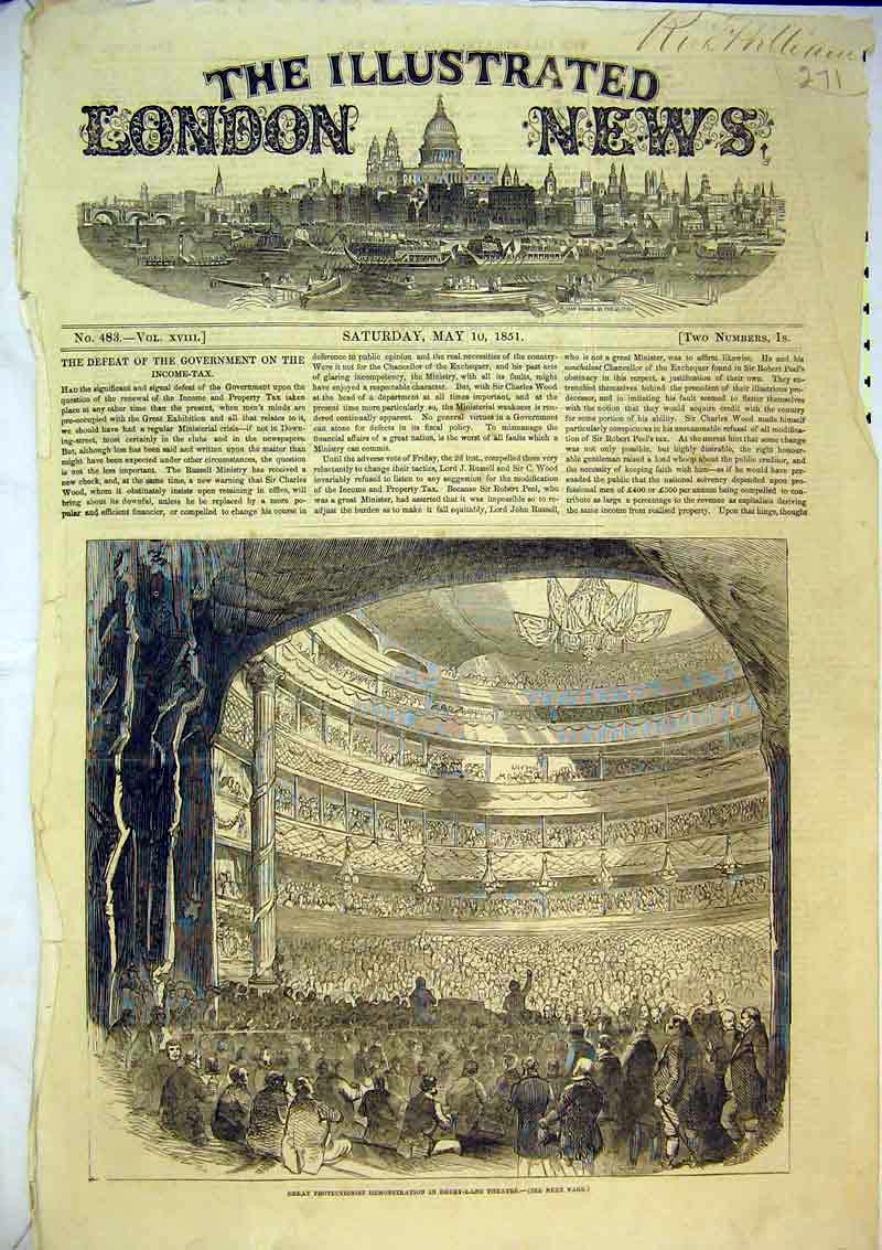 Print 1851 Protectionist Demonstration Drury Lane Theatre 271B366 Old Original