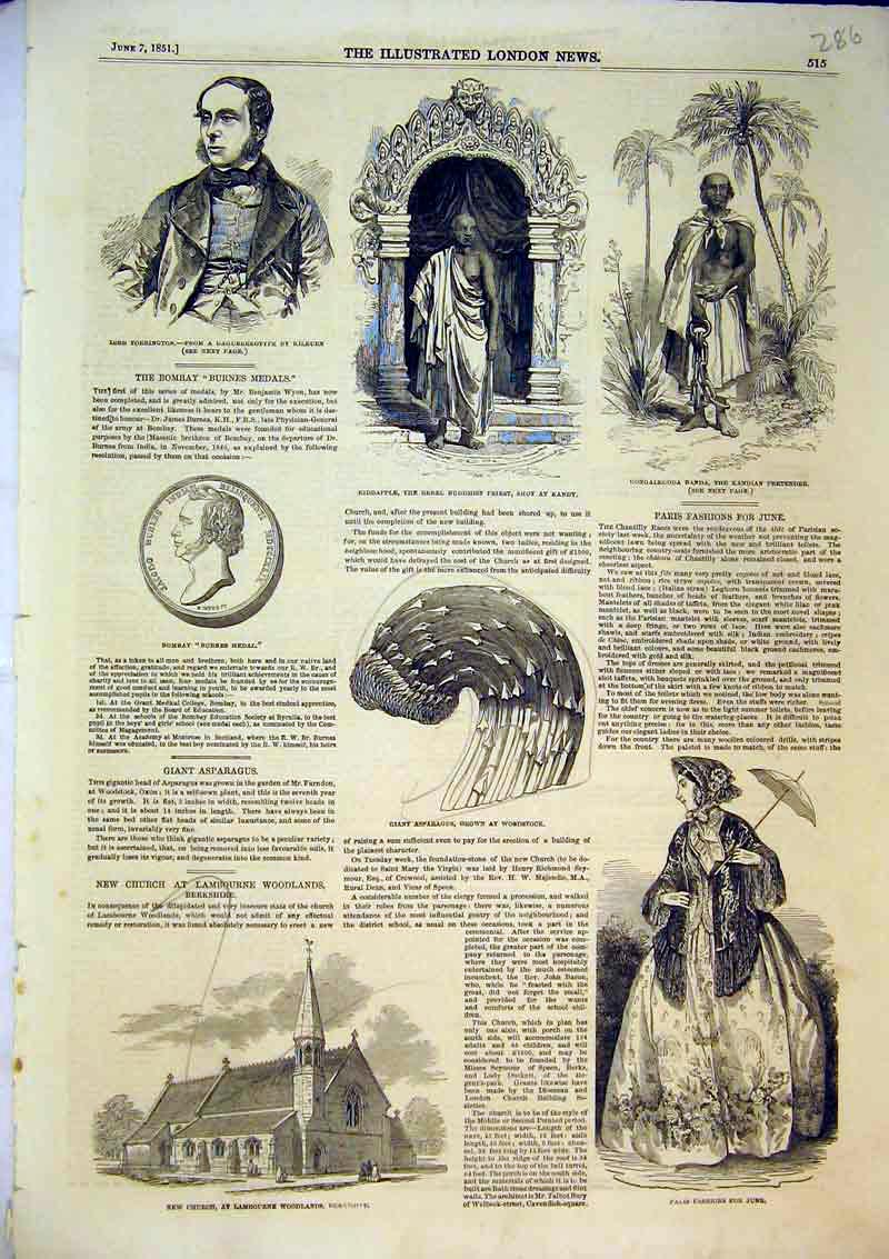 Print 1851 Church Lambourne Paris Fashion Kiddapple Buddhist 286B366 Old Original