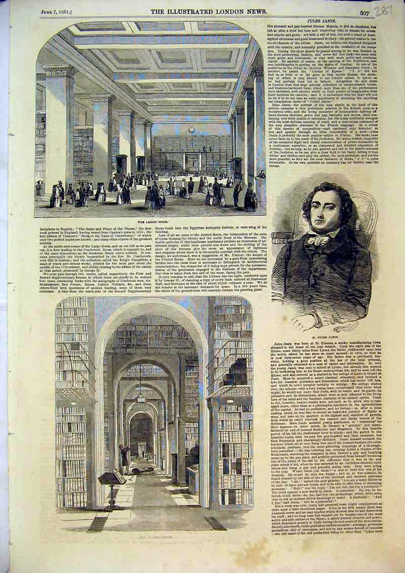 Print 1851 Large Room House Arched Library Jules Janin 287B366 Old Original