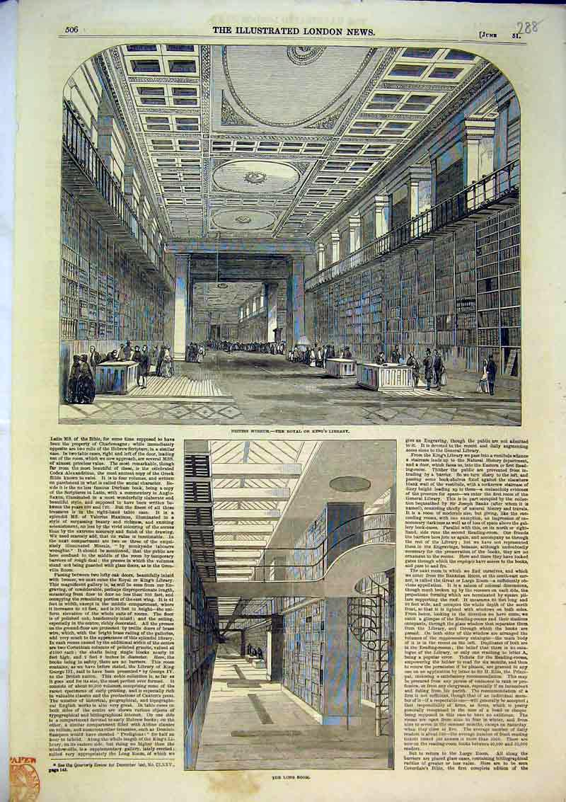 Print 1851 British Museum Kings Royal Library Long Room 288B366 Old Original