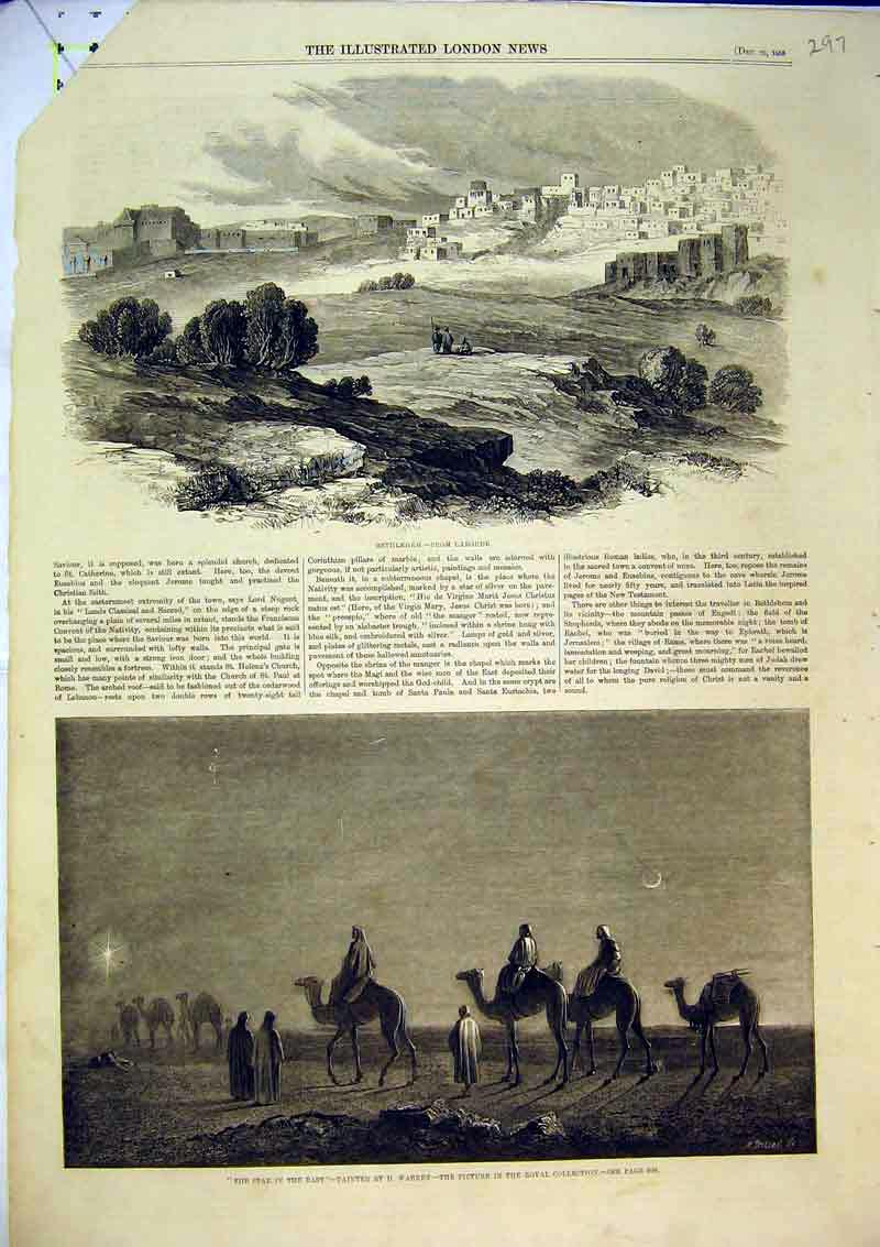 Print 1858 Camels Moonlight Desert Bethlehem Laborde Holy 297B366 Old Original