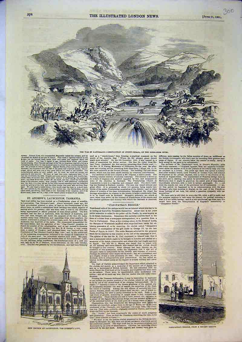 Print 1851 Church Launceston Cleopatras Needle War Kaffirland 300B366 Old Original