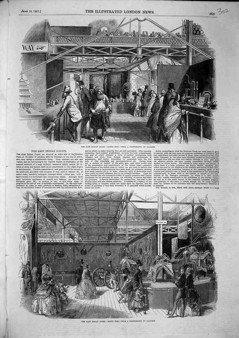 Print 1851 East Indian Court South North Side Shopping Market 302B366 Old Original