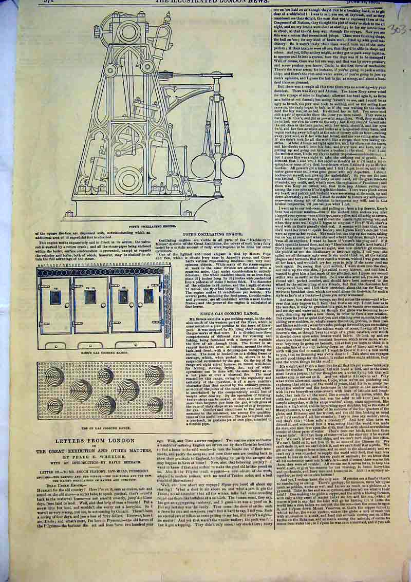 Print 1851 Pope'S Oscillating Engine Gas Cooking Range 303B366 Old Original