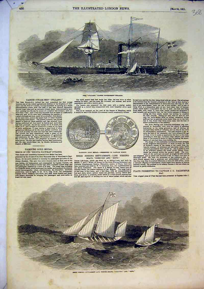 Print 1851 Jylland Danish Steamer Erris Fishing Boats Erreter 308B366 Old Original