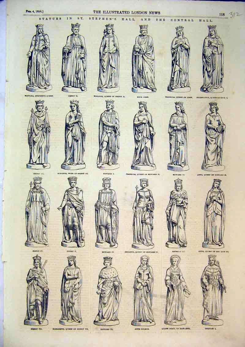 Print 1854 Statues St Stephen'S Hall Queen Mary Anne King 312B366 Old Original