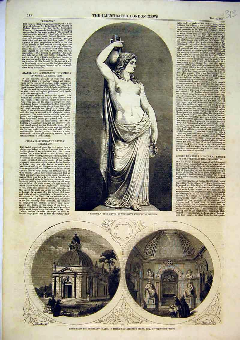 Print 1858 Statue Rebecca South Kensington Museum Mortuary 313B366 Old Original