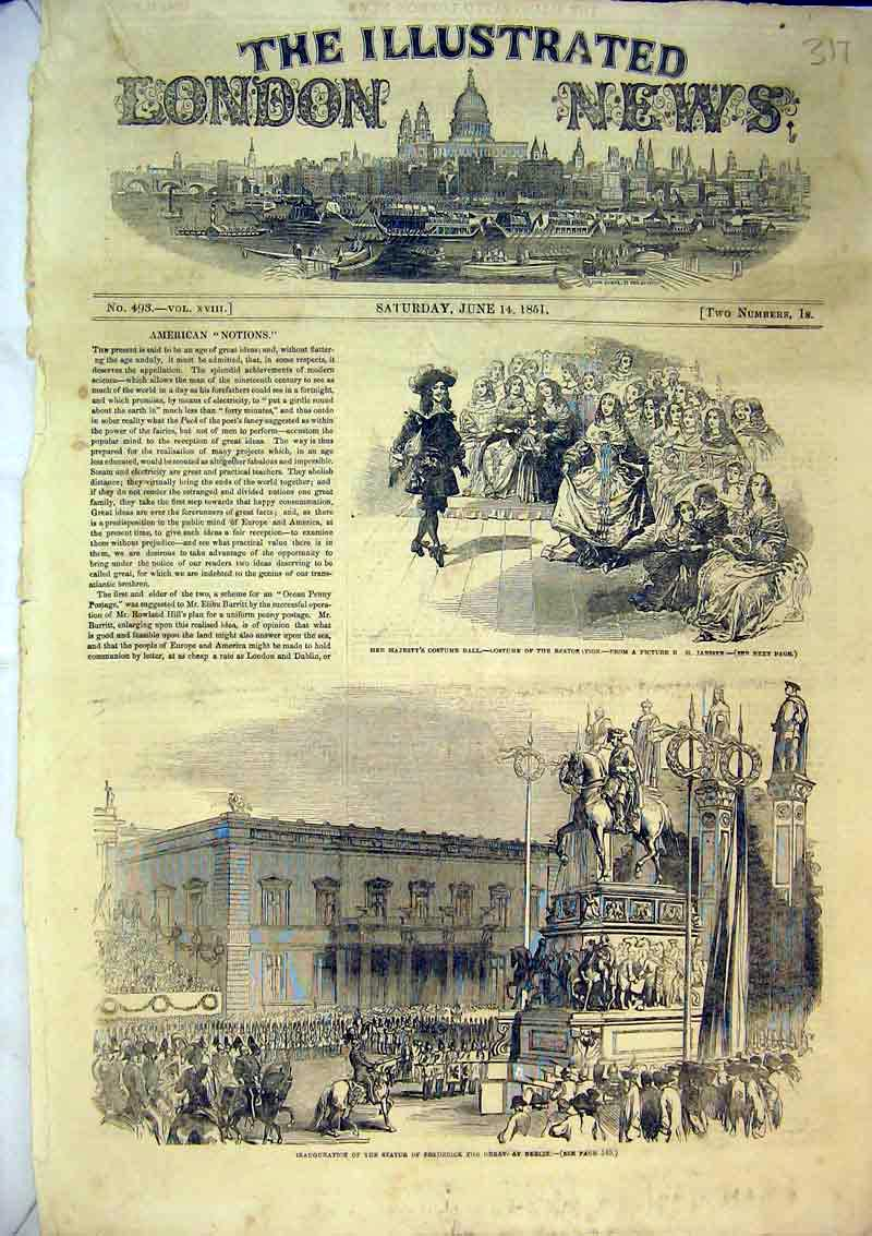 Print 1851 Statue Frederick Great Berlin Germany Costume Ball 317B366 Old Original
