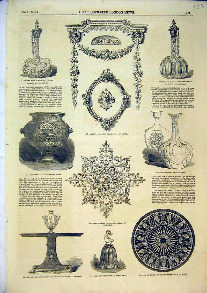 Print 1851 Silver Vase Ornaments Pottery Wine Flagon Table 323B366 Old Original