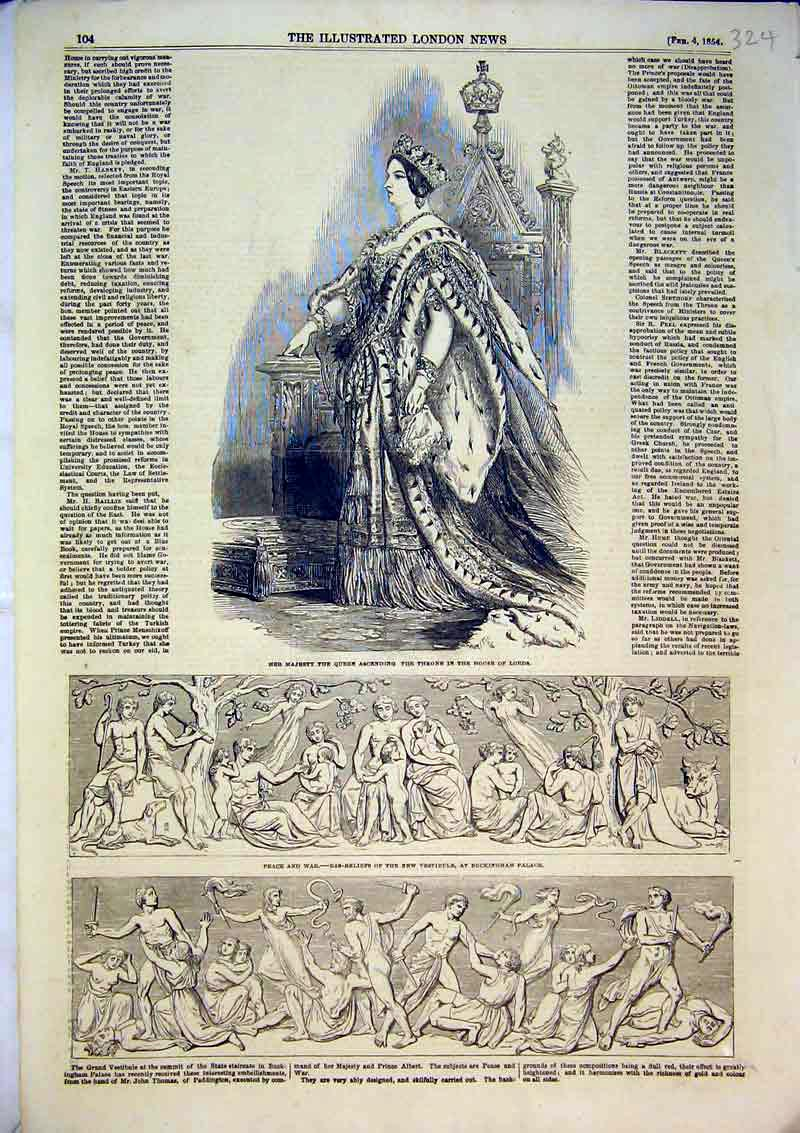 Print 1854 Queen Throne House Lords Bas-Reliefs Buckingham 324B366 Old Original