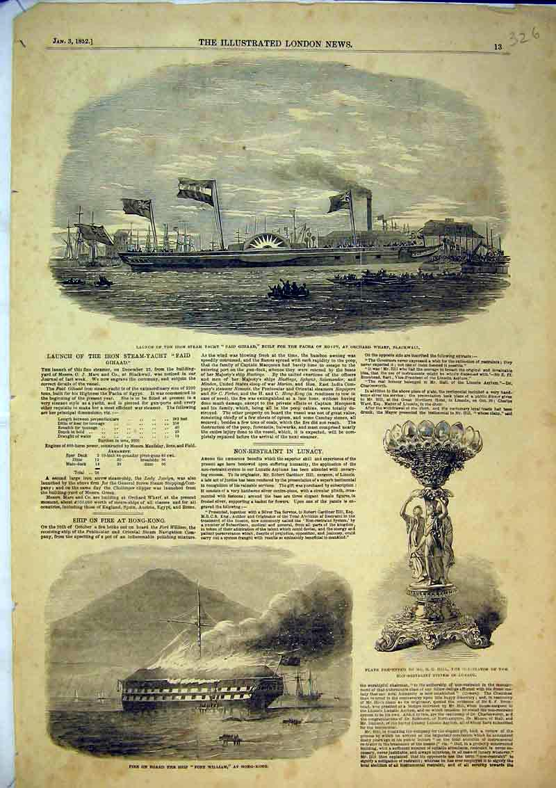 Print 1852 Ship Fort William Stea Yacht Faid Ghaad Pacha 326B366 Old Original
