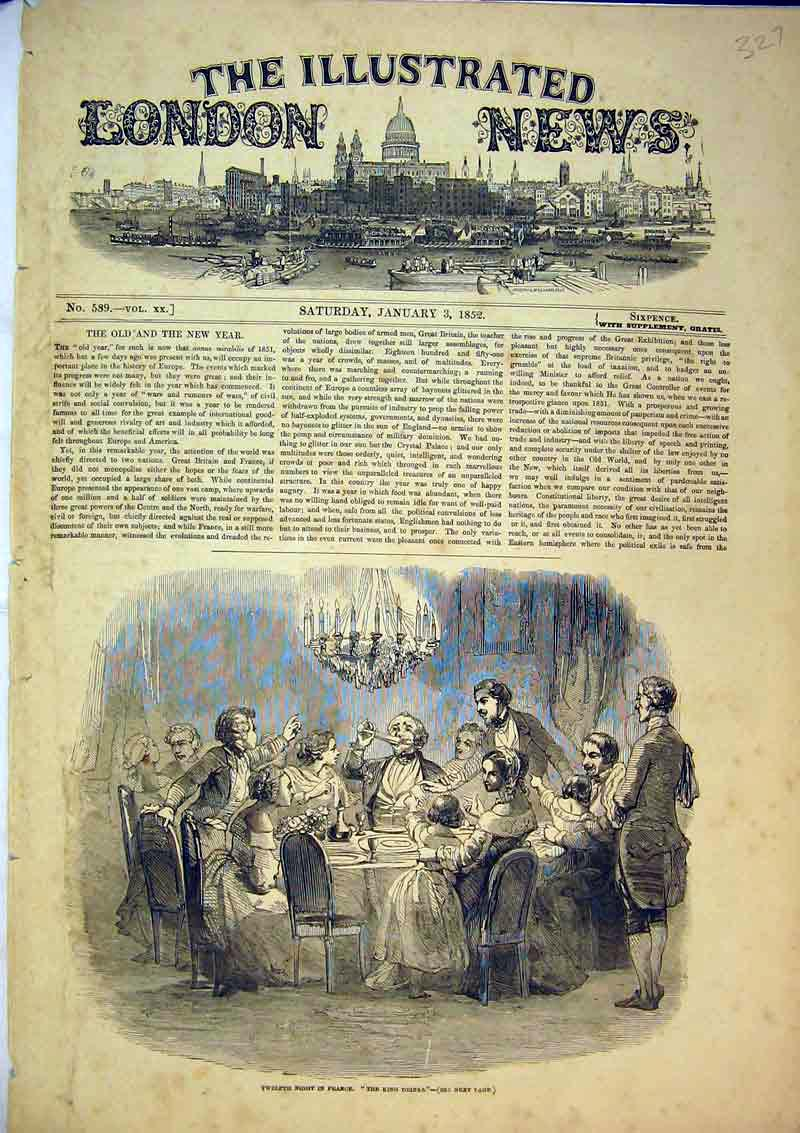 Print 1852 Scene Twelfth Night France King Drinks Celebration 327B366 Old Original