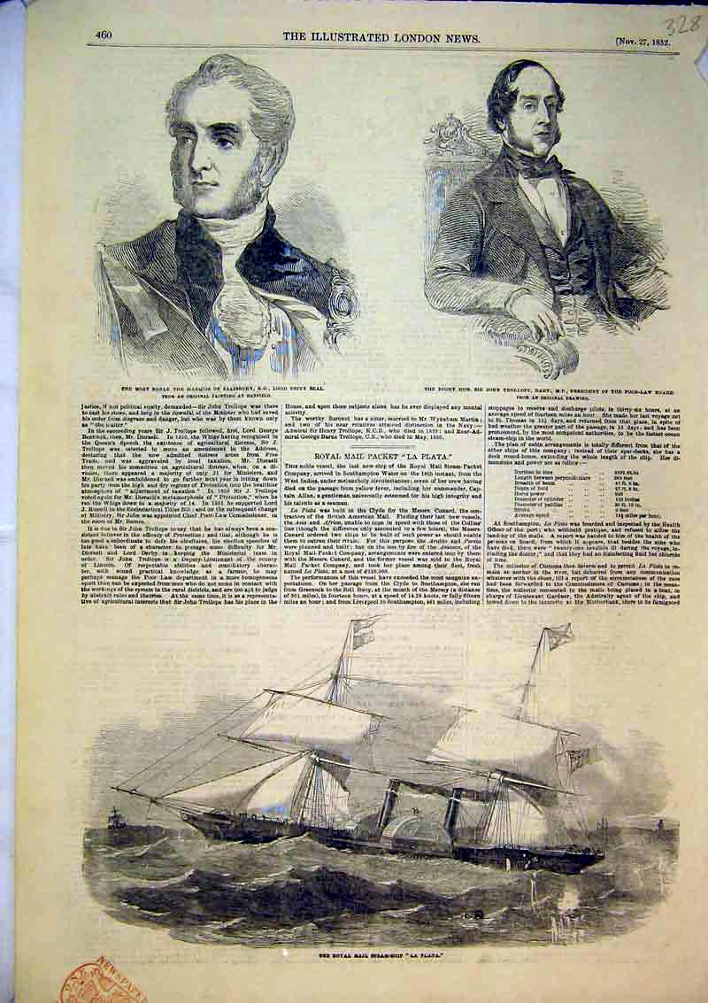 Print 1852 Royal Mail Steam Ship La Platat Trollope Privy 328B366 Old Original