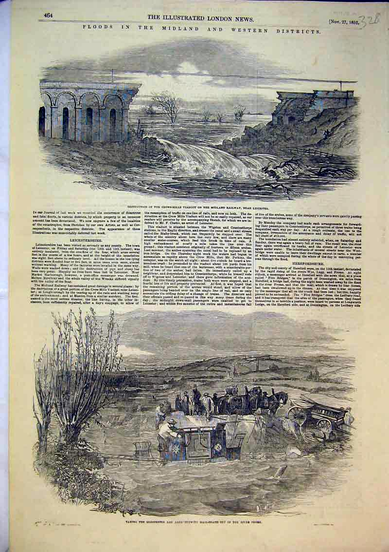 Print 1852 Coach River Frome Crows-Mills Viaduct Railway 328Ab366 Old Original