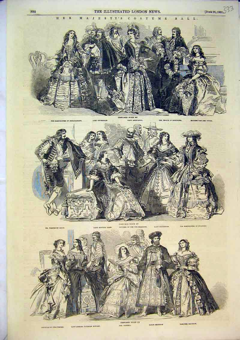 Print 1851 Queen Costume Ball Countess Brunnow Dragoons 333B366 Old Original
