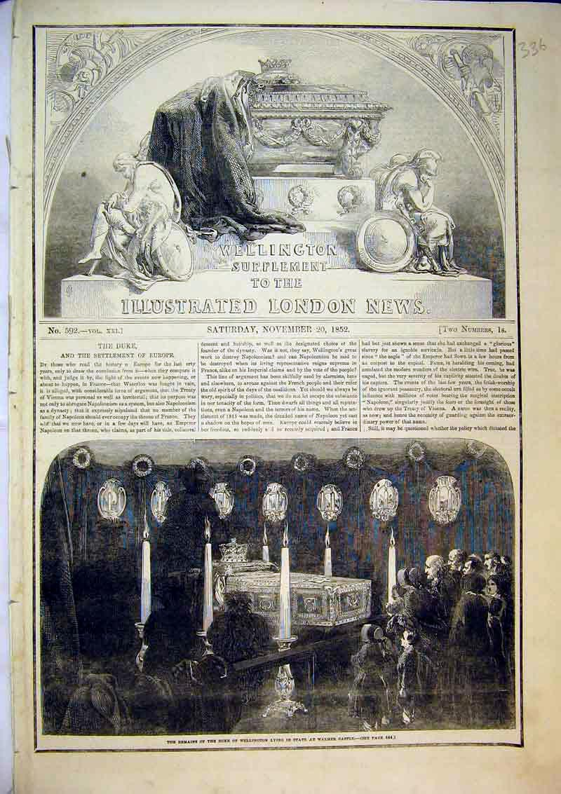Print 1852 Remains Duke Wellington Lying State Walmer Castle 336B366 Old Original