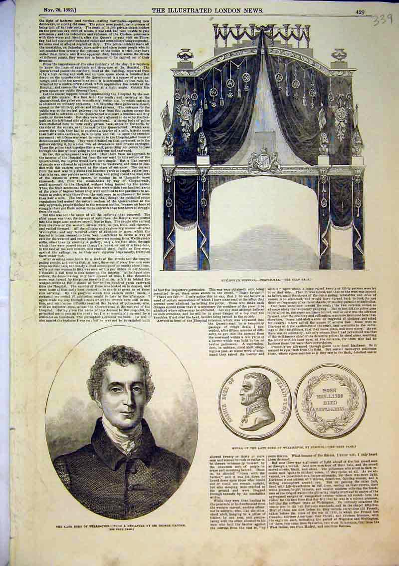 Print Duke Wellington Medal 1852 Funeral Temple Bar Pinches 339B366 Old Original