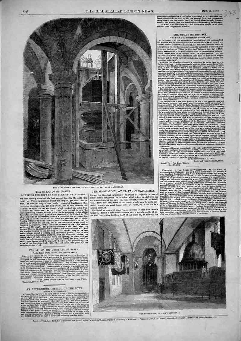 Print 1852 Duke Wellington Remains Crypt St Pauls Cathedral 343B366 Old Original