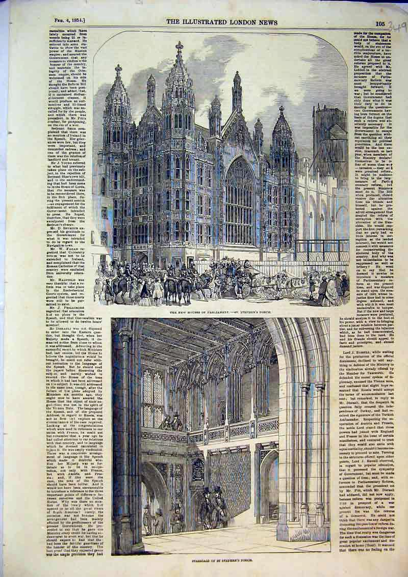Print 1854 New Houses Parliament Staircase St Stephens Porch 349B366 Old Original