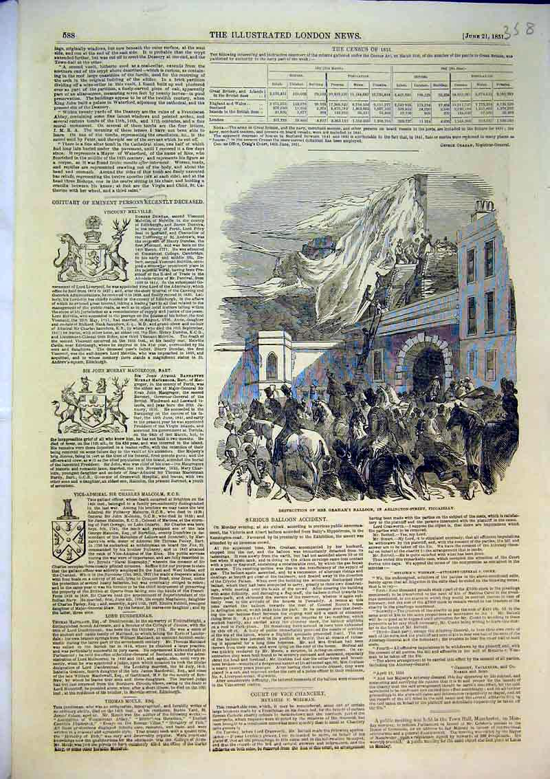 Print 1851 Destruction Mrs Graham'S Balloon Piccadilly Street 358B366 Old Original
