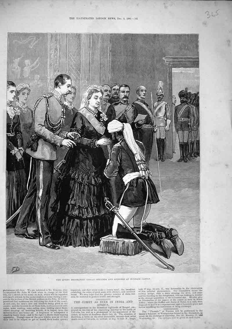 Print 1882 Queen Decorating Indian Officers Windsor Castle 365B366 Old Original