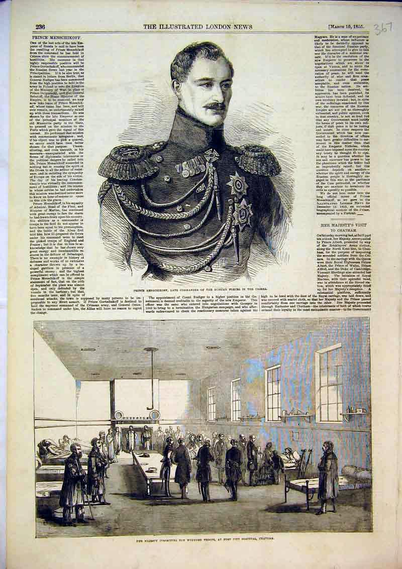 Print 1855 Queen Wounded Troops Hospital Chatham Prince 367B366 Old Original