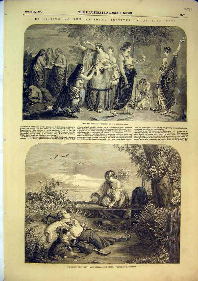 Print 1854 Ten Virgins Lauder Rest By The Way Underhill Dog 371B366 Old Original