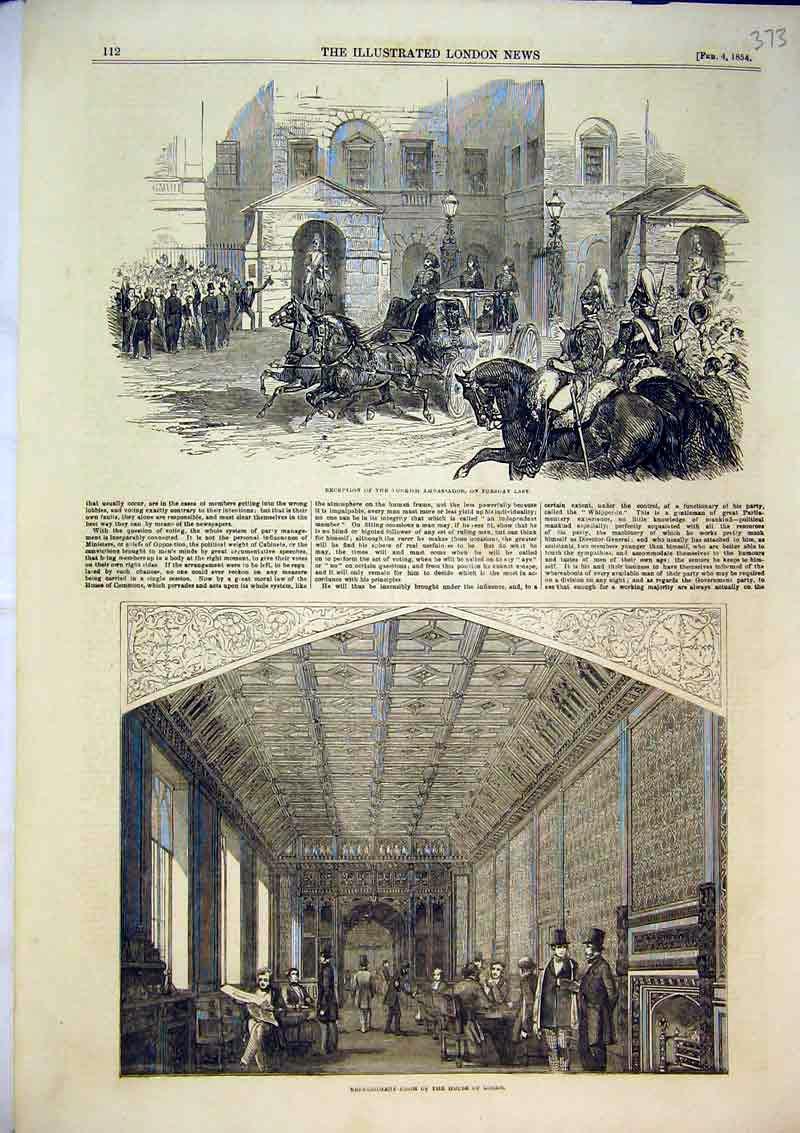 Print 1854 Refreshment Room House Lords Turkish Ambassador 373B366 Old Original