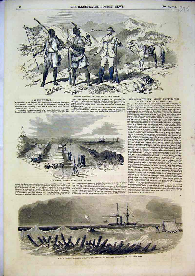 Print 1852 Alban Ship Buffalo Mouth Burgher Fingoes Colony 375B366 Old Original