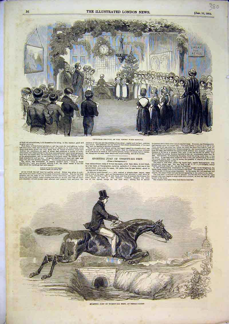 Print 1852 Christmas Festival Vintry Ward Horse Jumping Sport 380B366 Old Original