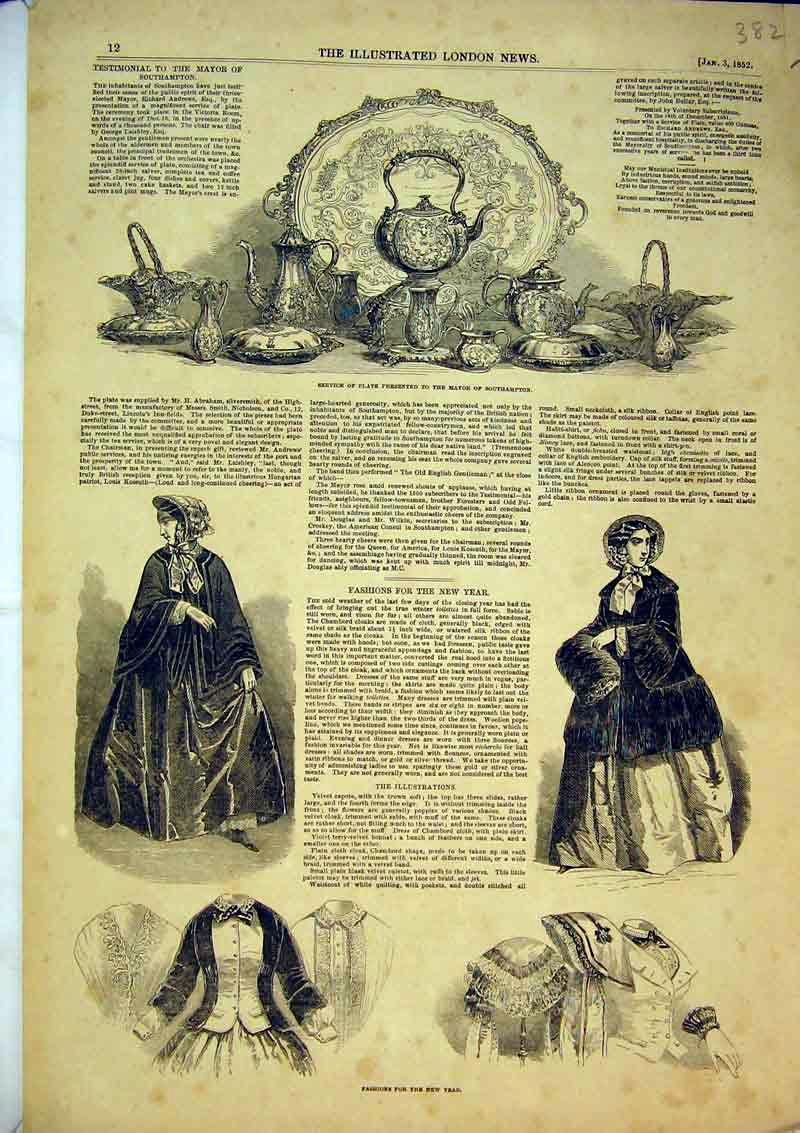 Print 1852 Womens Fashion New Year Silver Plate Southampton 382B366 Old Original