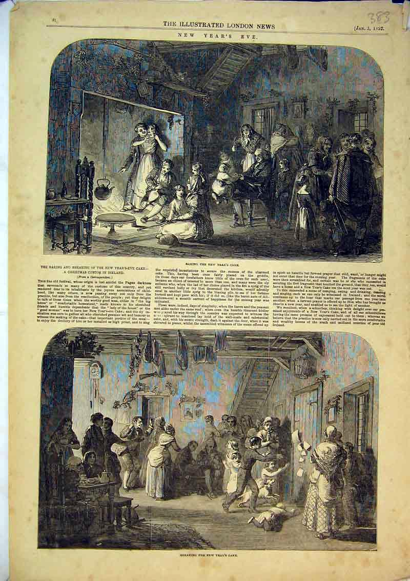 Print 1852 New Years Eve Celebrations Cake Party Family Scene 383B366 Old Original