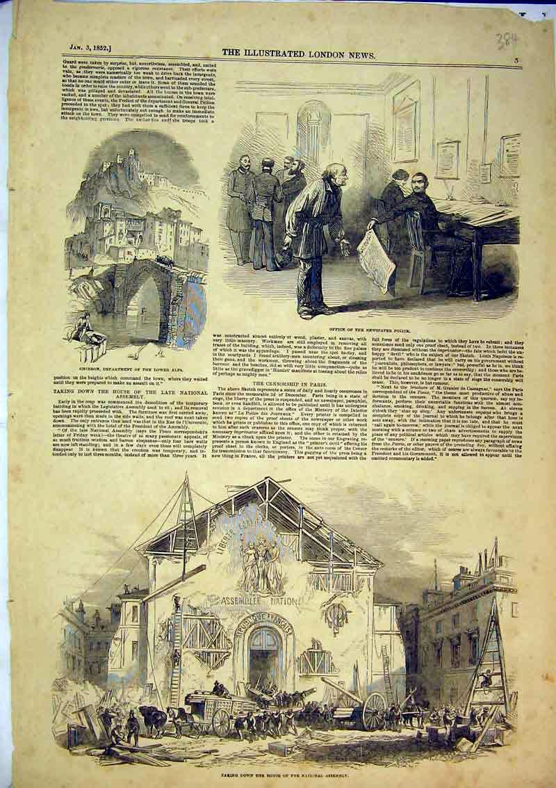 Print 1852 Taking Down House National Assembly Office Police 384B366 Old Original