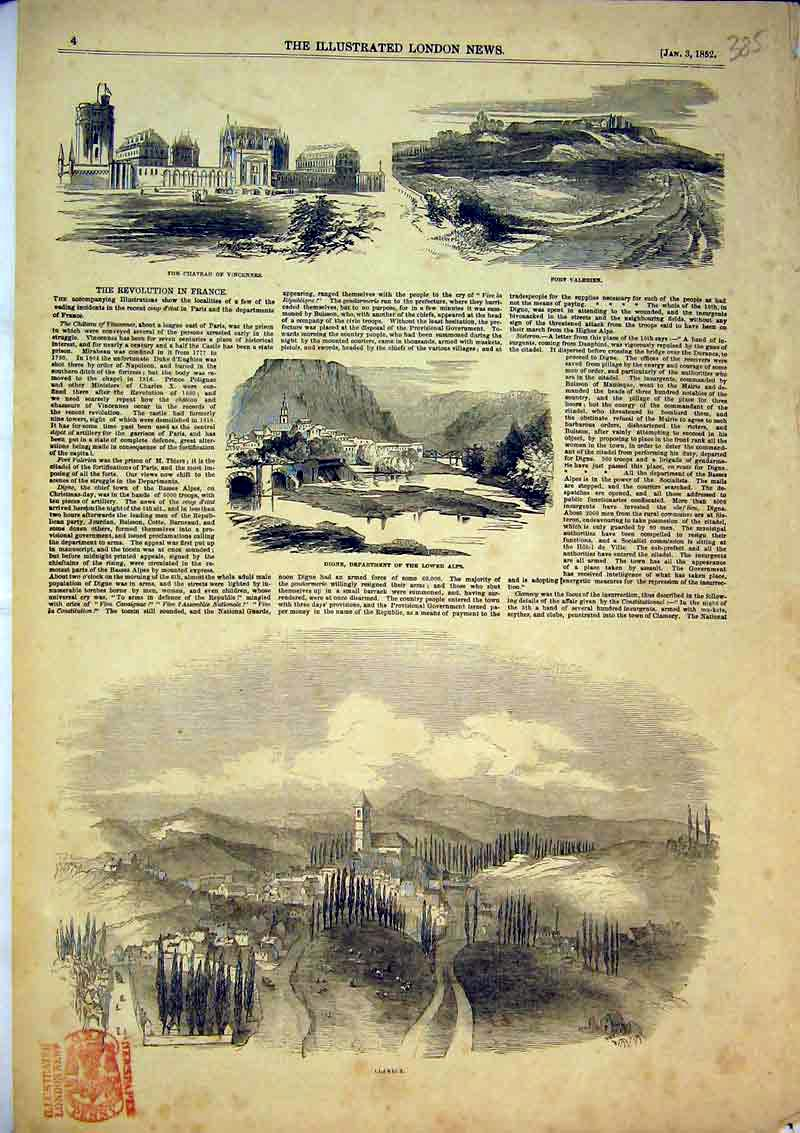 Print 1852 Clamecy Digne Lower Alps Chateau Vincennes Fort 385B366 Old Original
