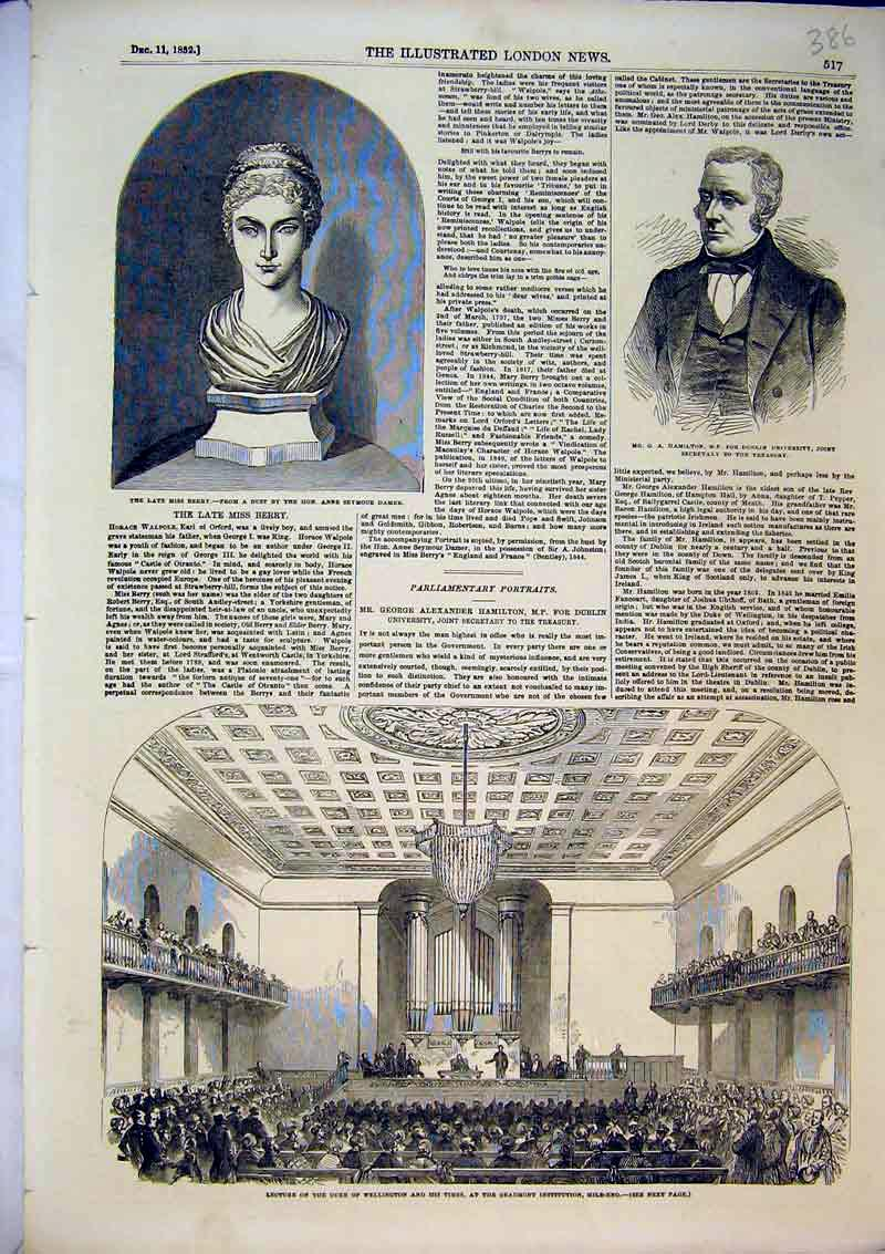 Print 1852 Duke Wellington Beaumont Institution Berry Bust 386B366 Old Original