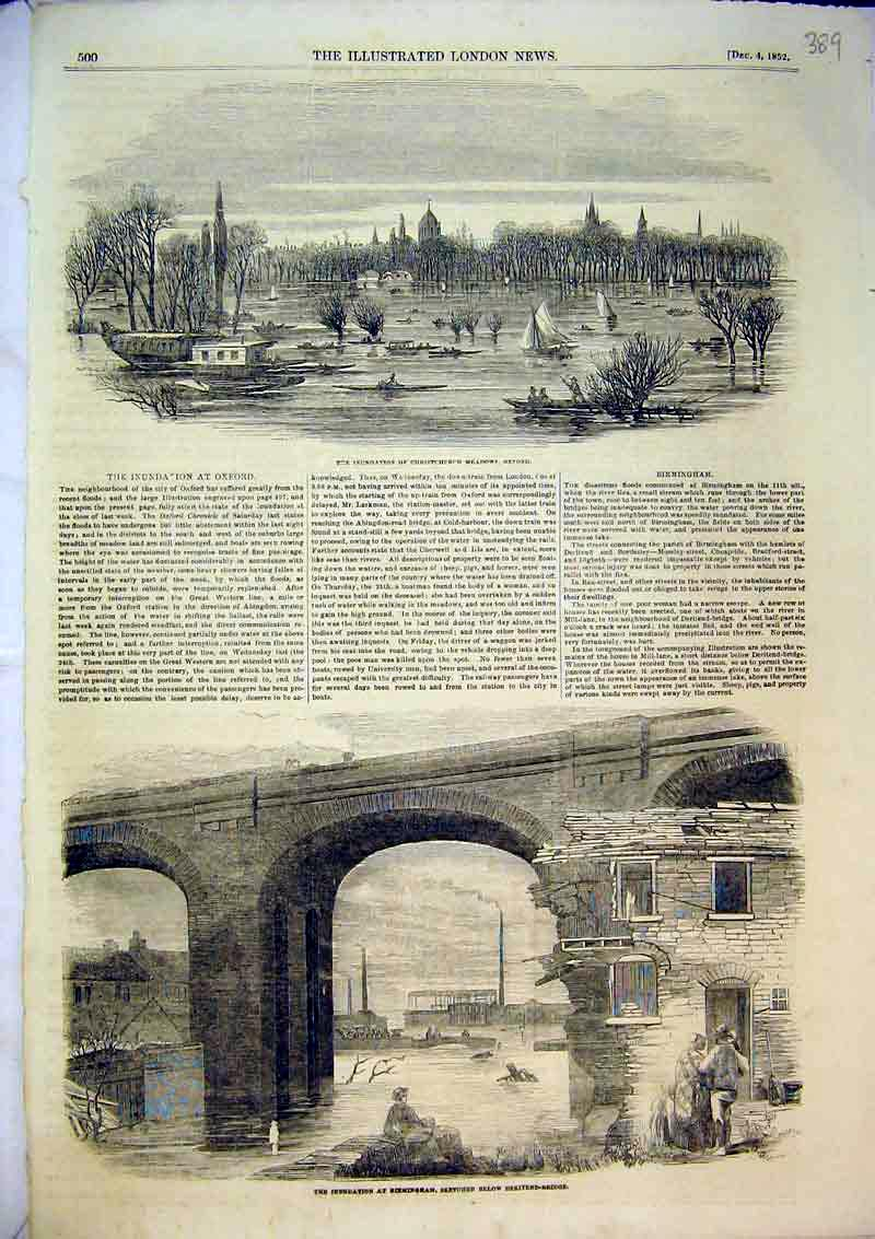 Print 1852 Inundation Birmingham Bridge River Oxford Yachts 389B366 Old Original