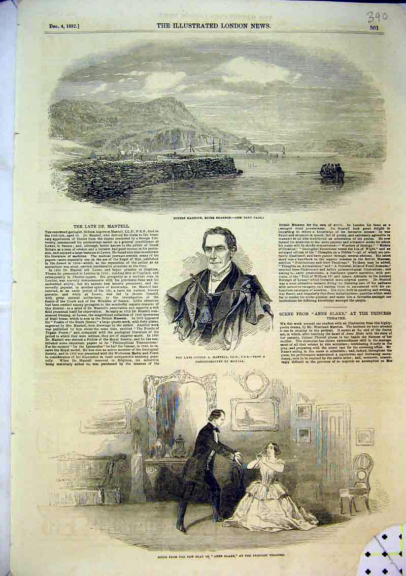 Print 1852 Foynes Harbour River Shannon Princess Theatre 390B366 Old Original