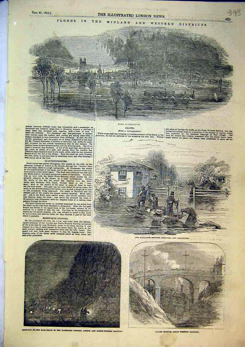Print Flood Gloucester 1852 Mail Train Ealing Station Railway 393B366 Old Original