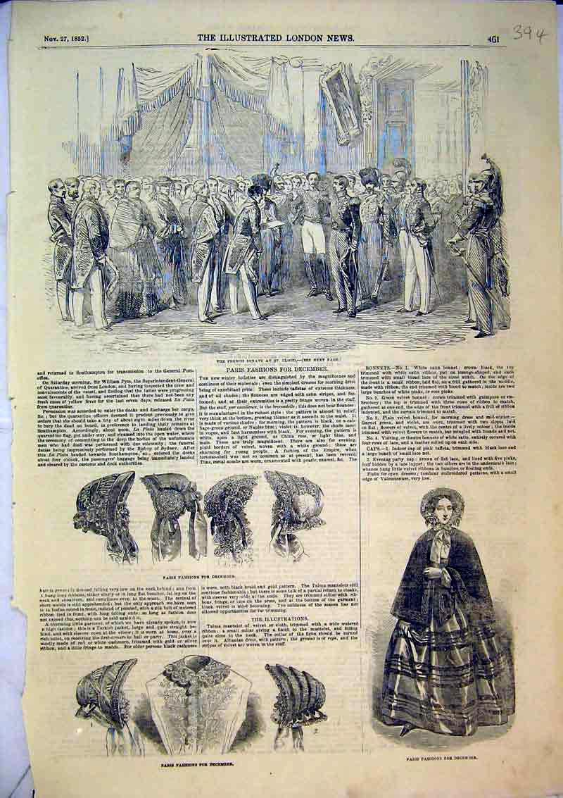 Print 1852 Paris Fashion Hats Women French Senate St Cloud 394B366 Old Original