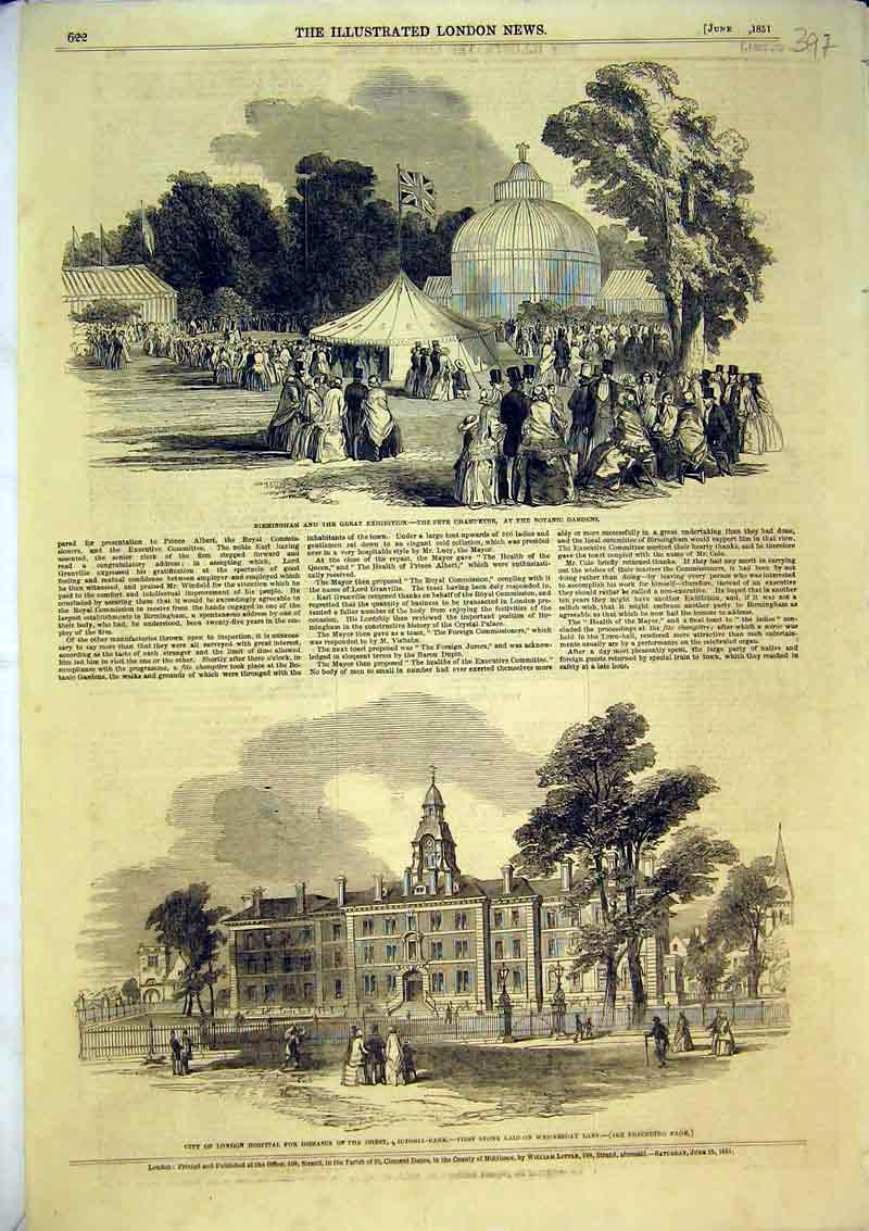 Print 1851 London Hospital Diseases Birmingham Botanic Garden 397B366 Old Original