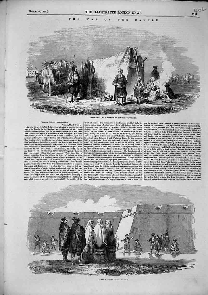 Print 1854 War Danube Wallach Family Waiting Embark Widdin 402B366 Old Original