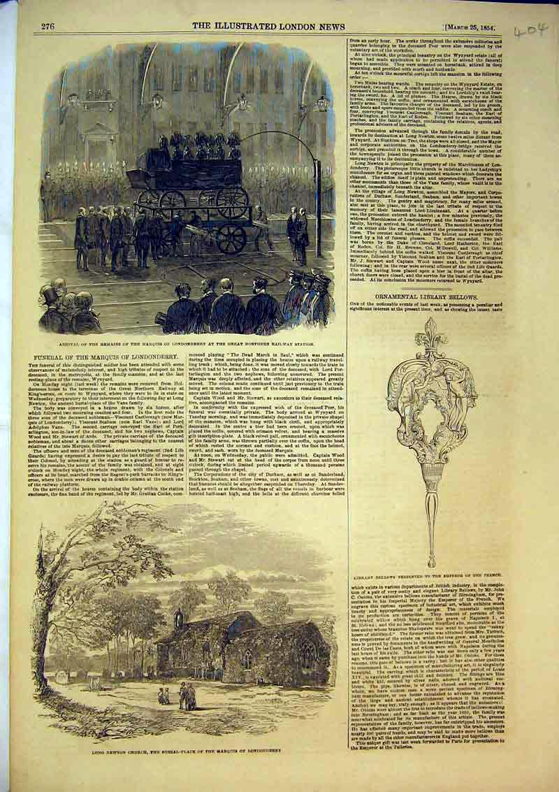 Print 1854 Long Newton Church Marquis Londonderry Funeral 404B366 Old Original